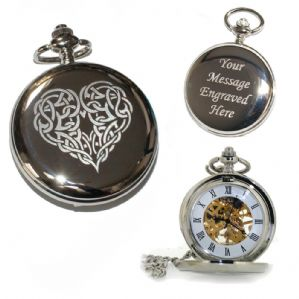Celtic Heart Knot Hand Wind Single Hunter Pocket Watch